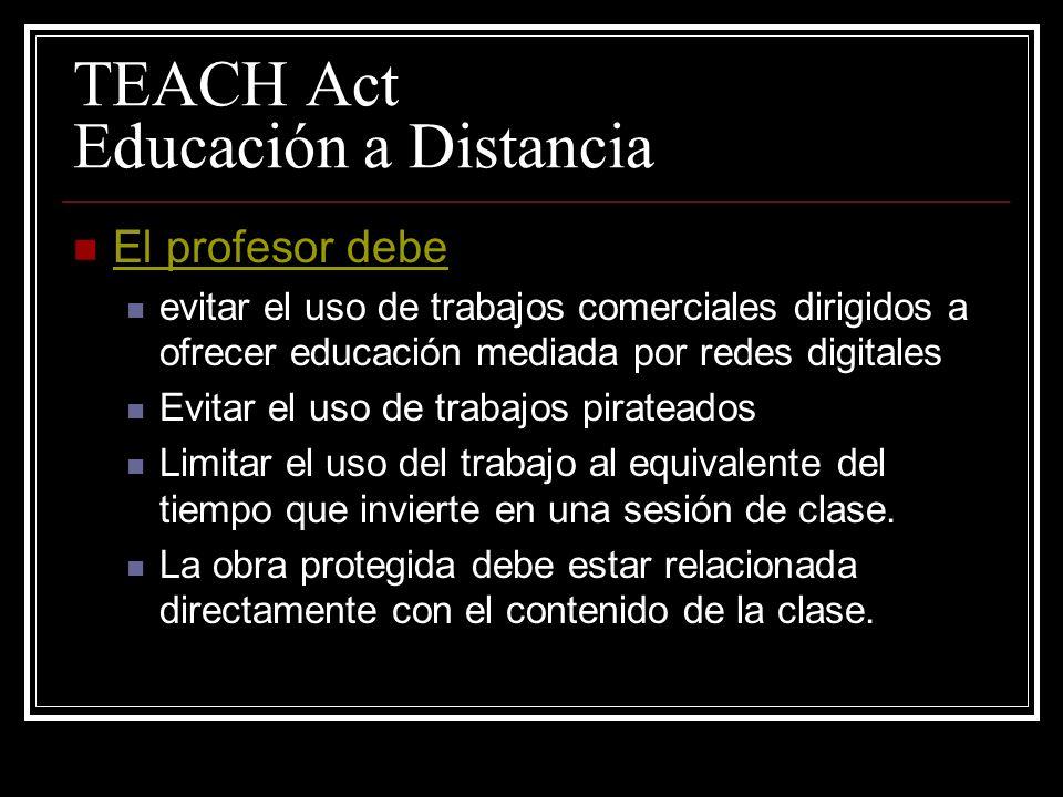 17 U.S.C. §110 (TEACH Act) NO es violación de © 1)Ejecución o exhibición de un trabajo por alumnos o instructores en actividades de enseñanza cara a d