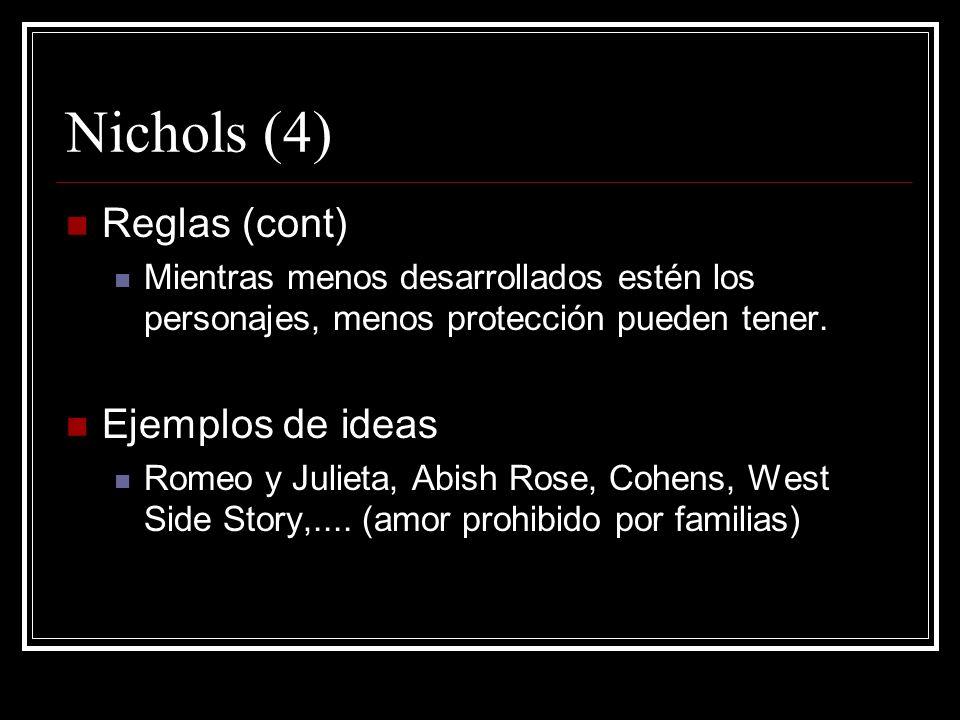 Nichols (4) Reglas (cont) Mientras menos desarrollados estén los personajes, menos protección pueden tener. Ejemplos de ideas Romeo y Julieta, Abish R