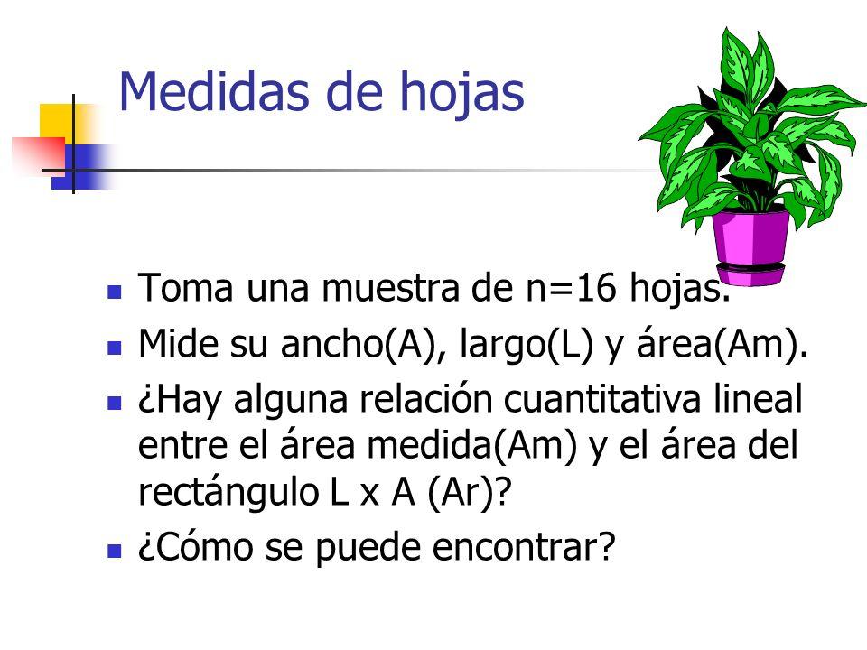 Medidas de hojas Toma una muestra de n=16 hojas.Mide su ancho(A), largo(L) y área(Am).