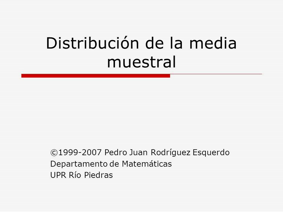 Distribución de la media muestral ©1999-2007 Pedro Juan Rodríguez Esquerdo Departamento de Matemáticas UPR Río Piedras