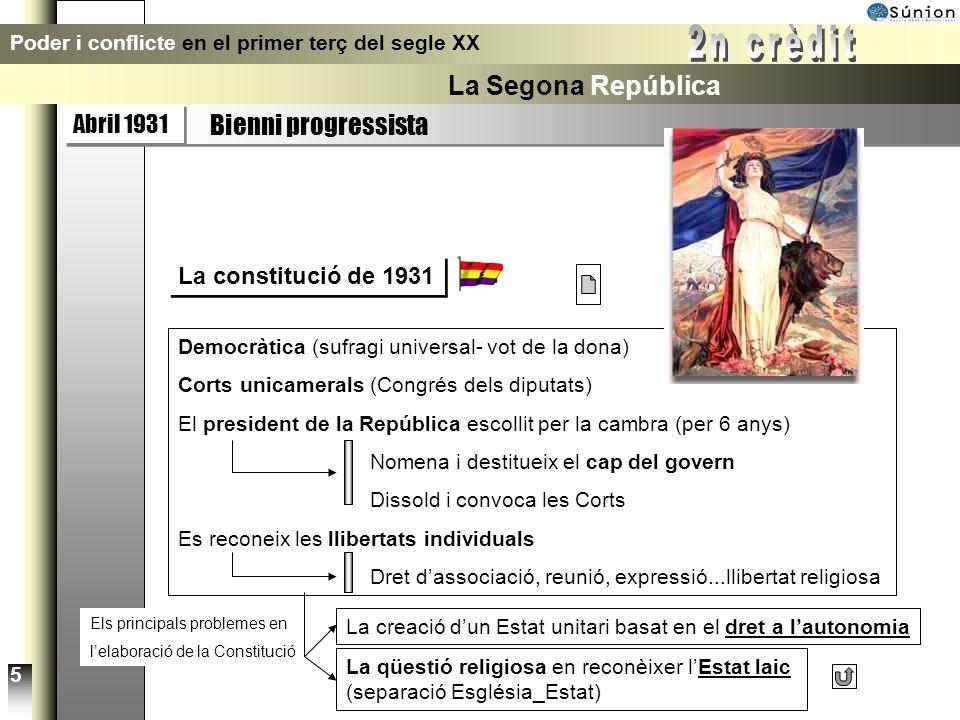 Abril 1931 Bienni progressista Poder i conflicte en el primer terç del segle XX La Segona República Eleccions del 31 4 President de la República: Alca
