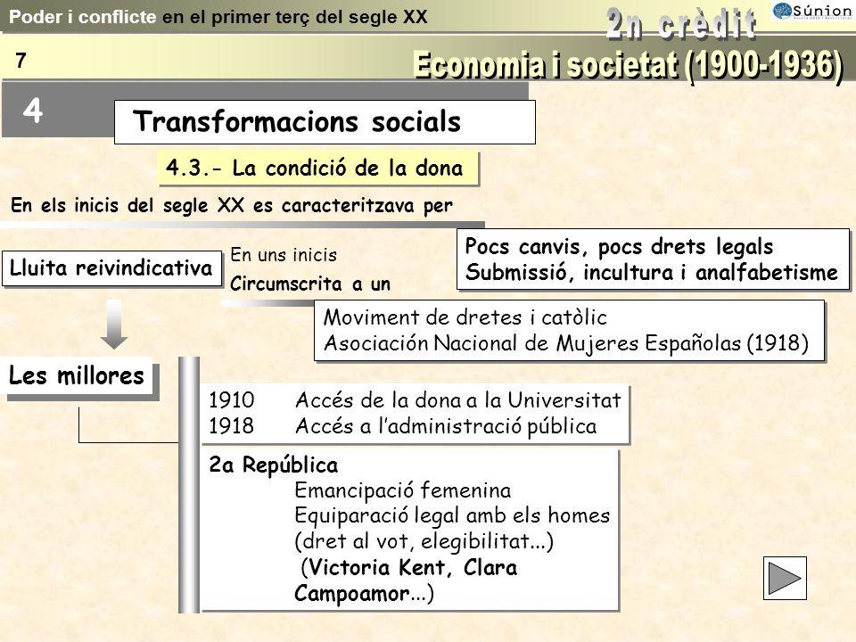 4.3.- La condició de la dona Pocs canvis, pocs drets legals Submissió, incultura i analfabetisme Pocs canvis, pocs drets legals Submissió, incultura i analfabetisme Moviment de dretes i catòlic Asociación Nacional de Mujeres Españolas (1918) Moviment de dretes i catòlic Asociación Nacional de Mujeres Españolas (1918) Lluita reivindicativa En els inicis del segle XX es caracteritzava per Circumscrita a un Les millores 1910Accés de la dona a la Universitat 1918Accés a ladministració pública 1910Accés de la dona a la Universitat 1918Accés a ladministració pública 2a República Emancipació femenina Equiparació legal amb els homes (dret al vot, elegibilitat...) (Victoria Kent, Clara Campoamor...) 2a República Emancipació femenina Equiparació legal amb els homes (dret al vot, elegibilitat...) (Victoria Kent, Clara Campoamor...) En uns inicis Poder i conflicte en el primer terç del segle XX 7 Transformacions socials 4