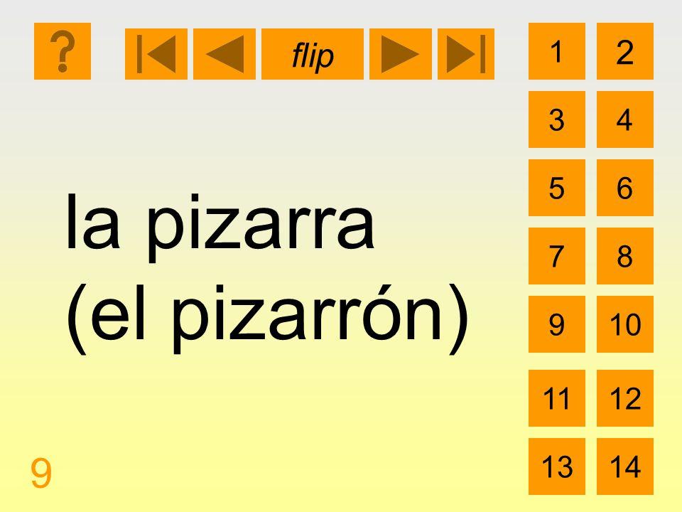 1 3 2 4 5 7 6 8 910 1112 1314 flip 9 la pizarra (el pizarrón)
