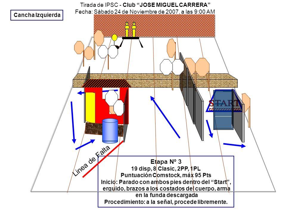 Tirada IPSC, en Club de tiro JOSE MIGUEL CARRERA Fecha: Sábado 24 de Noviembre de 2007, a las 9:00 Horas Etapa Nº 4 9 disparos, 45 puntos, 4 Classic, 1 PP.