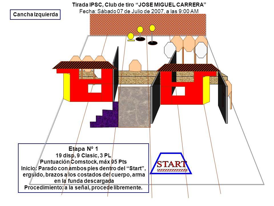 Tirada IPSC, en Club de tiro JOSE MIGUEL CARRERA Fecha: Sábado 07 de Julio de 2007, a las 9:00 Horas Etapa Nº 2 16 disp, 7 Clasic, 2 PL Puntuación Comstock, máx 80 Pts Inicio: sentado con ambas manos sobre las rodillas, arma en la mesa descargada sin cargador.