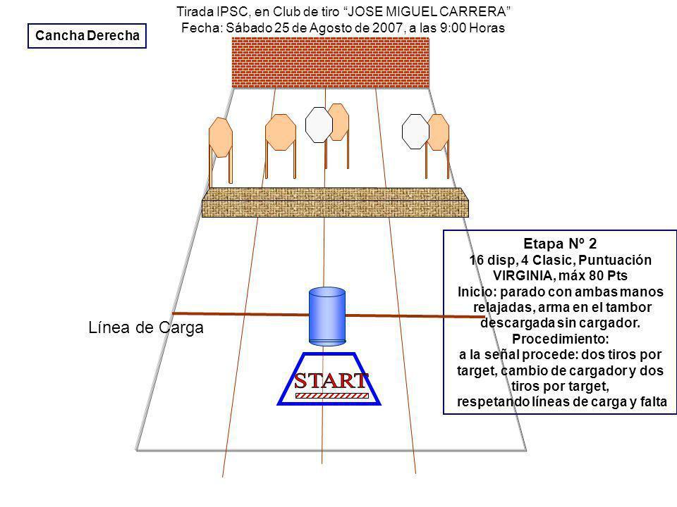Tirada IPSC, en Club de tiro JOSE MIGUEL CARRERA Fecha: Sábado 25 de Agosto de 2007, a las 9:00 Horas Etapa Nº 2 16 disp, 4 Clasic, Puntuación VIRGINIA, máx 80 Pts Inicio: parado con ambas manos relajadas, arma en el tambor descargada sin cargador.