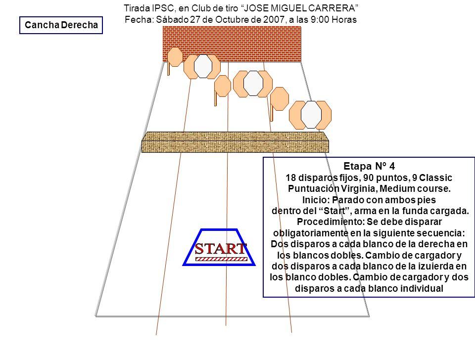 Tirada IPSC, en Club de tiro JOSE MIGUEL CARRERA Fecha: Sábado 27 de Octubre de 2007, a las 9:00 Horas Etapa Nº 4 18 disparos fijos, 90 puntos, 9 Clas