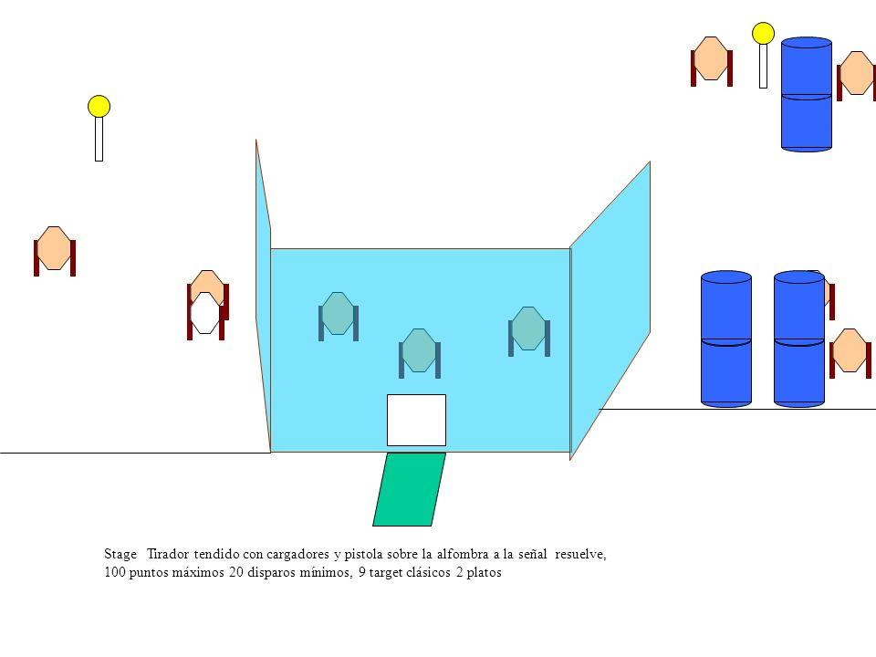 Stage Tirador tendido con cargadores y pistola sobre la alfombra a la señal resuelve, 100 puntos máximos 20 disparos mínimos, 9 target clásicos 2 platos