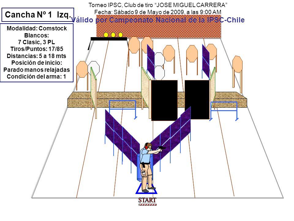 Torneo IPSC, Club de tiro JOSE MIGUEL CARRERA Fecha: Sábado 9 de Mayo de 2009, a las 9:00 AM Válido por Campeonato Nacional de la IPSC-Chile Modalidad: Comstock Blancos: 5 Clasic, 1PP, 1MP, 1PL Tiros/Puntos: 13/65 Distancias: 5 a 20 mts Posición de inicio: Sentado manos sobre rodillas Condición del arma: 2 Arma sobre la mesa Procedimiento: a la señal, procede libremente.