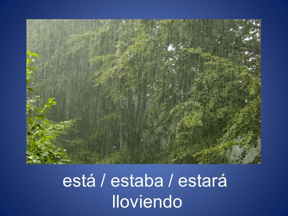 está / estaba / estará lloviendo