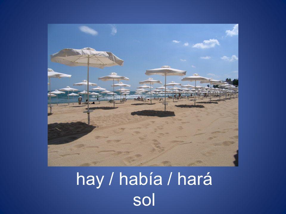 hay / había / hará sol