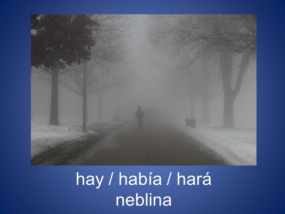 hay / había / hará neblina
