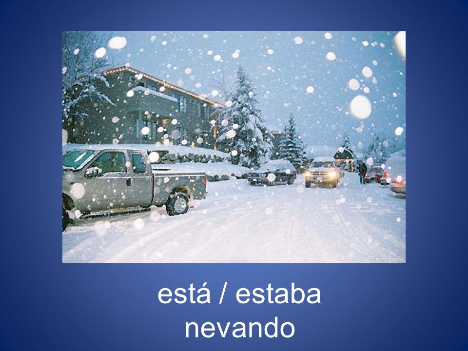 está / estaba nevando