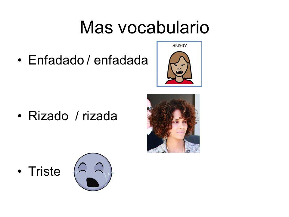Mas vocabulario Enfadado / enfadada Rizado/ rizada Triste