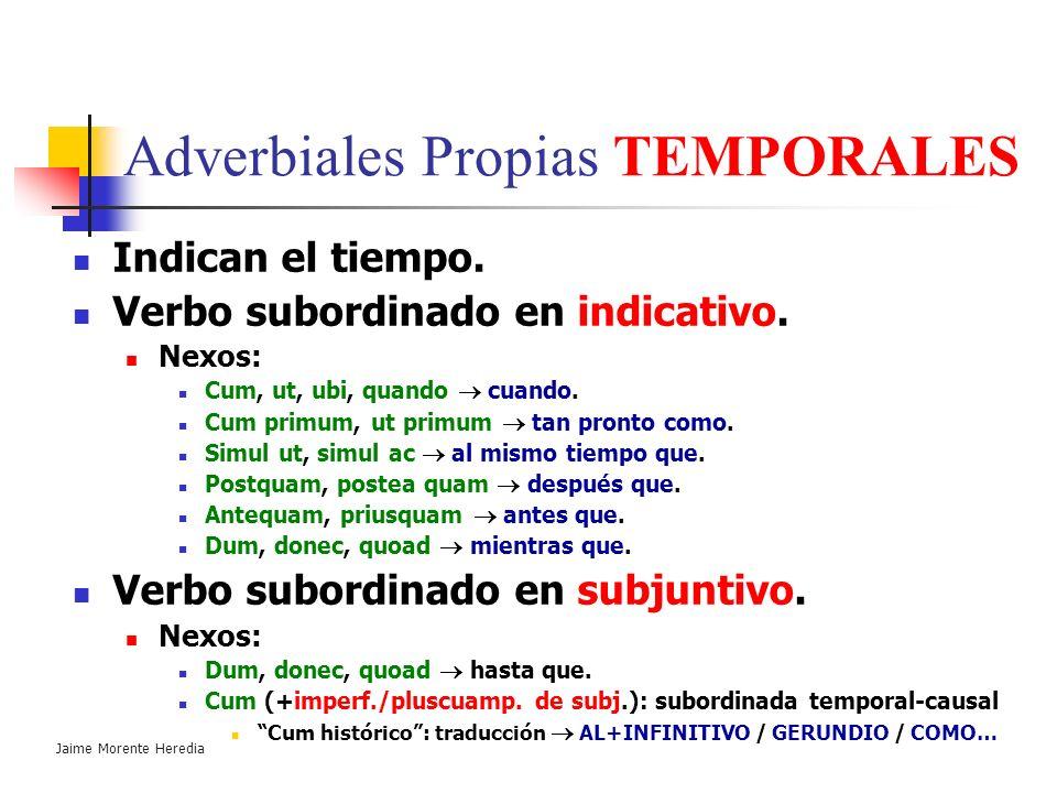 Jaime Morente Heredia Adverbiales Propias MODALES Indican el modo o la manera. Verbo subordinado en indicativo. Nexos : Ut, sicut como, según. Quemadm