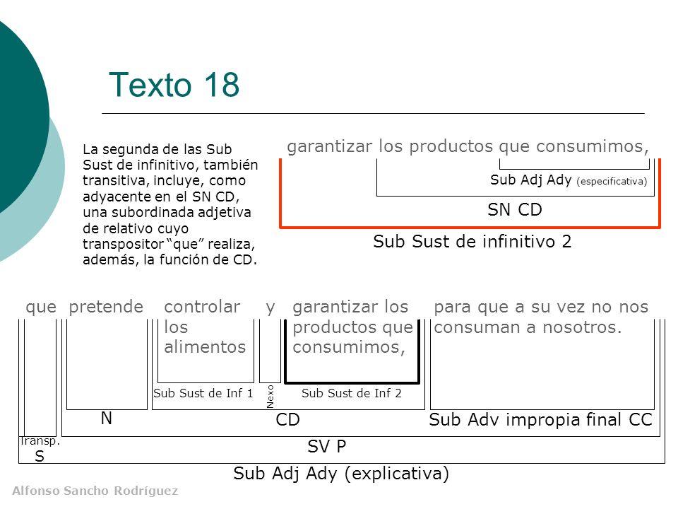 Alfonso Sancho Rodríguez Texto 18 para que a su vez no nos consuman a nosotros. que pretendecontrolar los alimentos y garantizar los productos que con