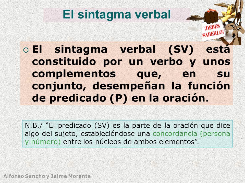 Alfonso Sancho y Jaime Morente El sintagma verbal El sintagma verbal (SV) está constituido por un verbo y unos complementos que, en su conjunto, desempeñan la función de predicado (P) en la oración.