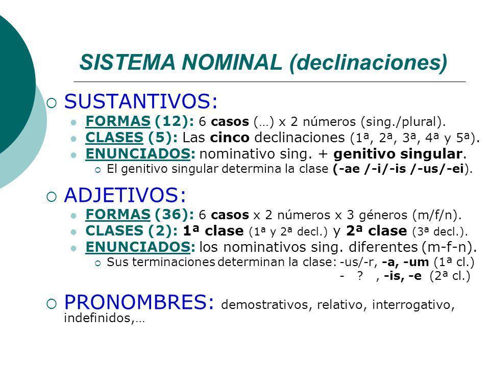 SISTEMA NOMINAL (declinaciones) SUSTANTIVOS: FORMAS (12): 6 casos (…) x 2 números (sing./plural).
