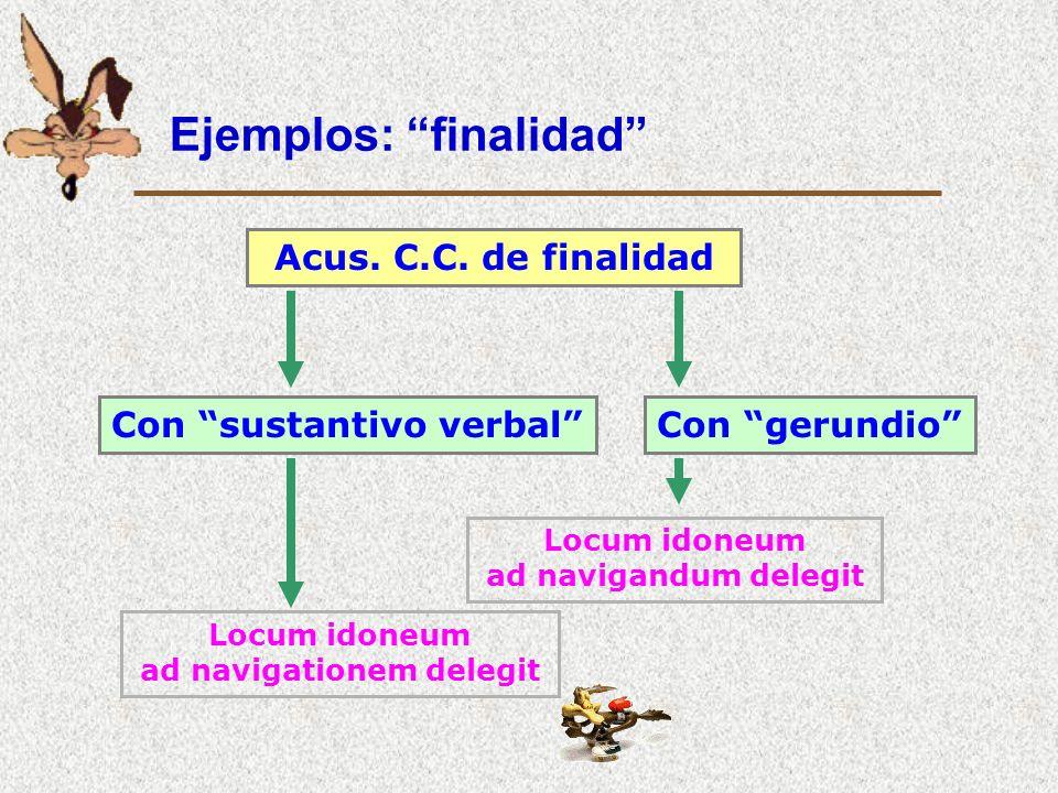 Ejemplos: C.C. Extensión Acus. C.C. de extensión Tria milia passuum ambulavit Triginta annos regnavit EspacioTiempo