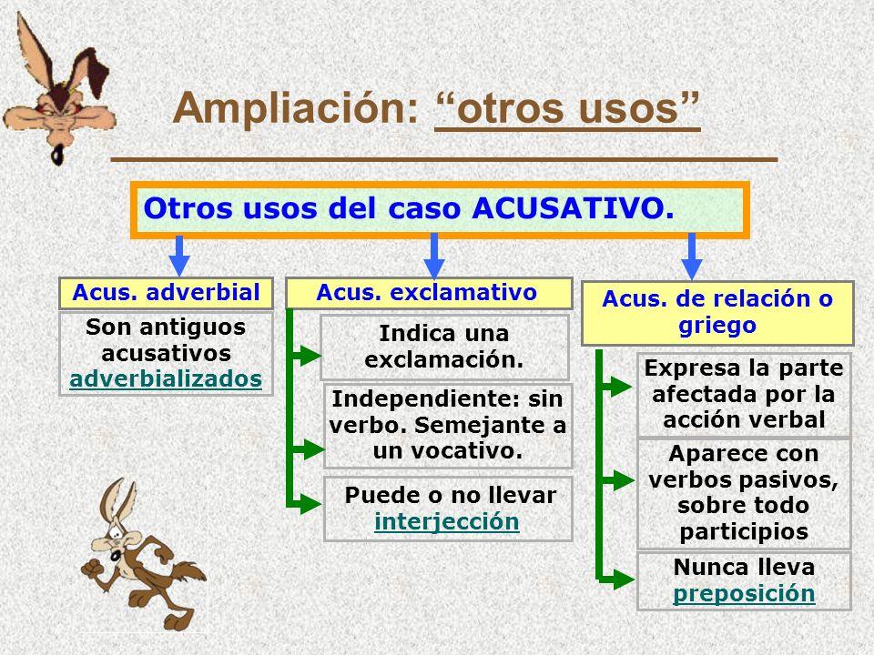 Ampliación: otros usos Otros usos del caso ACUSATIVO.