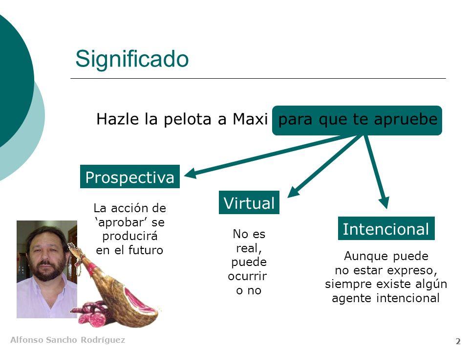 Alfonso Sancho Rodríguez 2 Significado Hazle la pelota a Maxipara que te apruebe Prospectiva La acción de aprobar se producirá en el futuro Virtual No es real, puede ocurrir o no Intencional Aunque puede no estar expreso, siempre existe algún agente intencional