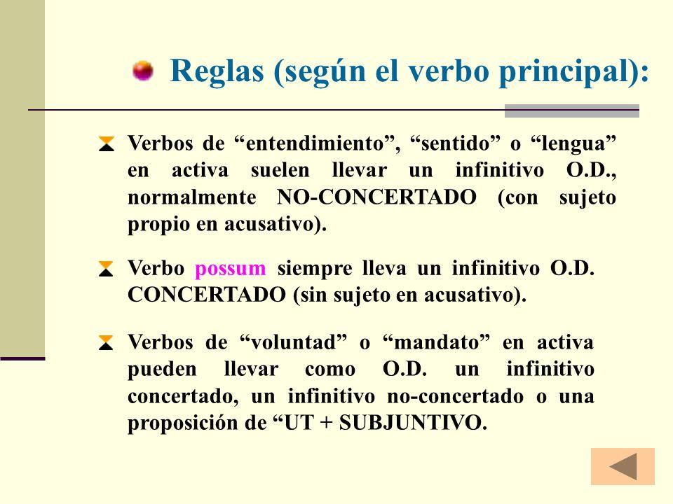 Traducción: No concertado Formas personales en castellano (con Nº/Pers./Modo/Tiempo) TIEMPO según la RELACIÓN TEMPORAL * Inf. presente * Inf. perfecto
