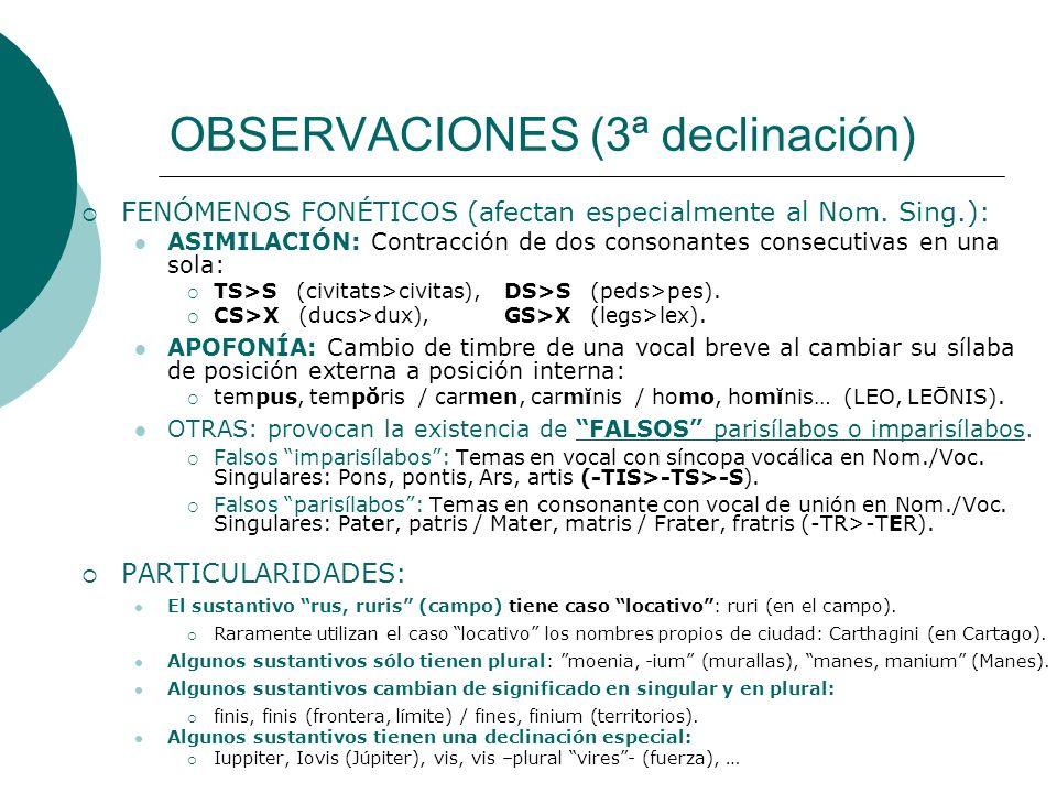 OBSERVACIONES (3ª declinación) FENÓMENOS FONÉTICOS (afectan especialmente al Nom. Sing.): ASIMILACIÓN: Contracción de dos consonantes consecutivas en