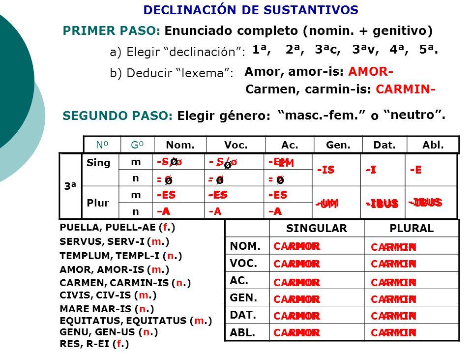 NºGºNom.Voc.Ac.Gen.Dat.Abl. 3ª Sing m-S/ø -EM -IS-I-E n- ø Plur m-ES -UM-IBUS n-A DECLINACIÓN DE SUSTANTIVOS PRIMER PASO: Enunciado completo (nomin. +