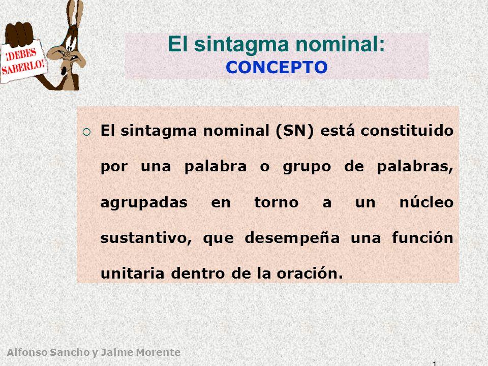 Alfonso Sancho y Jaime Morente El sintagma nominal como unidad gramatical No aparece solo en la oración (sí en frases).