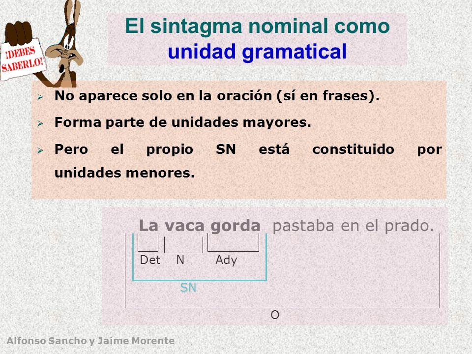 Alfonso Sancho y Jaime Morente El sintagma nominal como unidad gramatical No aparece solo en la oración (sí en frases). Forma parte de unidades mayore