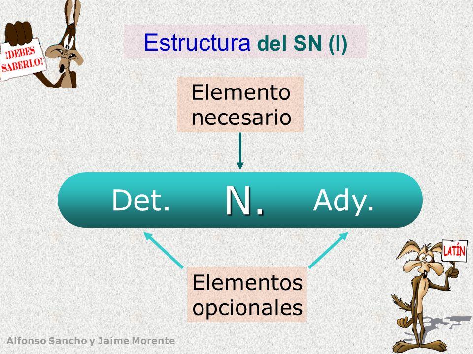 Alfonso Sancho y Jaime Morente 4 Estructura del SN (II) Determinante/s (Det) Núcleo (N)Adyacente/s (Ady) Sintagma nominal (SN) Adjetivo Sintagma adjetivo SN en aposición SN con preposición SAdv con preposición Propos.