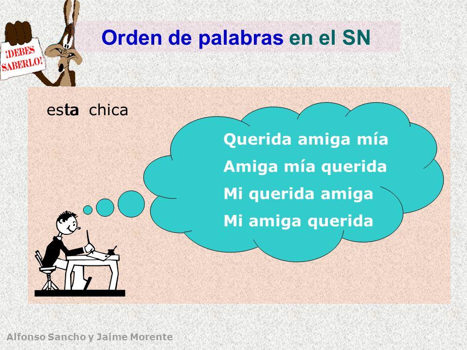 Alfonso Sancho y Jaime Morente Orden de palabras en el SN chicaestala Querida amiga mía Amiga mía querida Mi querida amiga Mi amiga querida