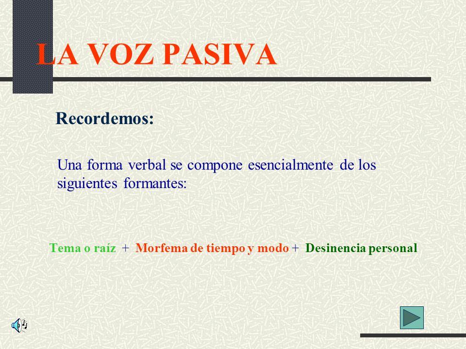 LA VOZ PASIVA Recordemos: Una forma verbal se compone esencialmente de los siguientes formantes: Tema o raíz + Morfema de tiempo y modo + Desinencia personal