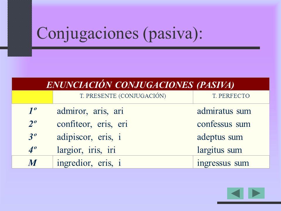 1ºadmiror, aris, ariadmiratus sum 2ºconfiteor, eris, ericonfessus sum 3ºadipiscor, eris, iadeptus sum 4ºlargior, iris, irilargitus sum ENUNCIACIÓN CONJUGACIONES (PASIVA) T.