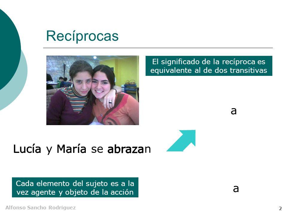 Alfonso Sancho Rodríguez 2 Recíprocas Cada elemento del sujeto es a la vez agente y objeto de la acción a a El significado de la recíproca es equivalente al de dos transitivas Lucía y María se abrazan Lucía María abraza Lucía María