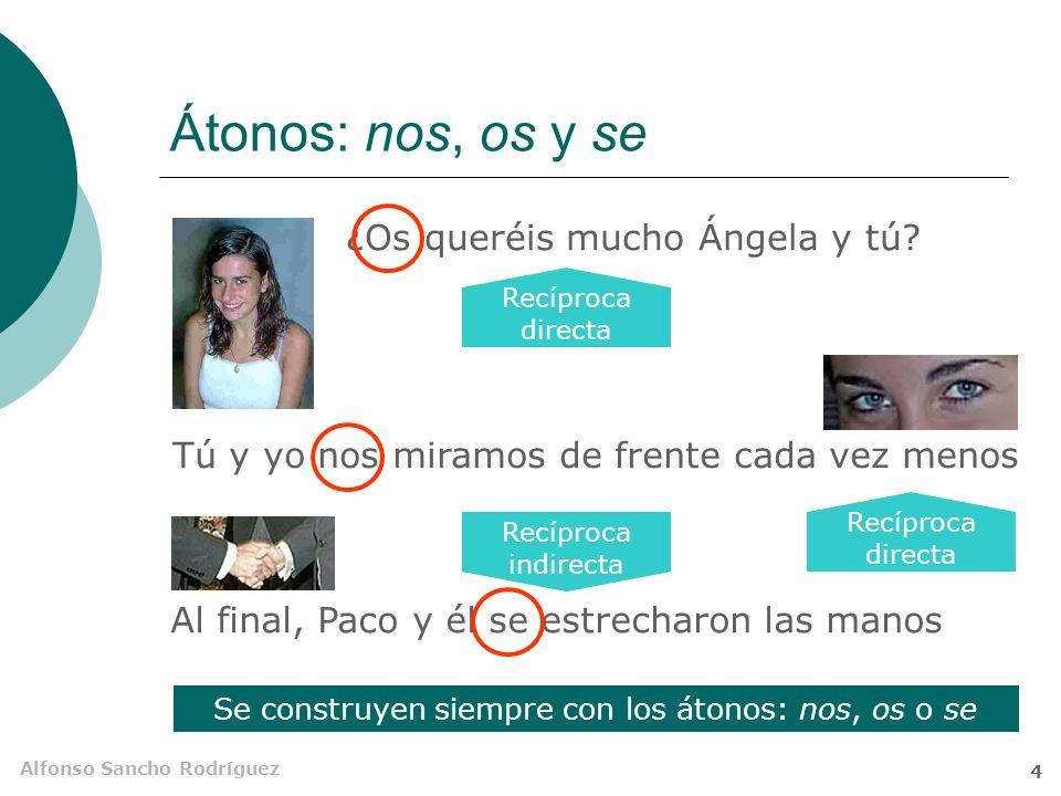 Alfonso Sancho Rodríguez 4 Átonos: nos, os y se Tú y yo nos miramos de frente cada vez menos Al final, Paco y él se estrecharon las manos ¿Os queréis mucho Ángela y tú.