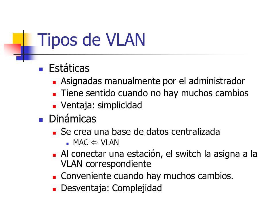 Tipos de VLAN Estáticas Asignadas manualmente por el administrador Tiene sentido cuando no hay muchos cambios Ventaja: simplicidad Dinámicas Se crea una base de datos centralizada MAC VLAN Al conectar una estación, el switch la asigna a la VLAN correspondiente Conveniente cuando hay muchos cambios.