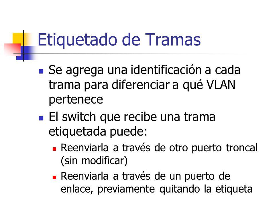 Etiquetado de Tramas Se agrega una identificación a cada trama para diferenciar a qué VLAN pertenece El switch que recibe una trama etiquetada puede: Reenviarla a través de otro puerto troncal (sin modificar) Reenviarla a través de un puerto de enlace, previamente quitando la etiqueta
