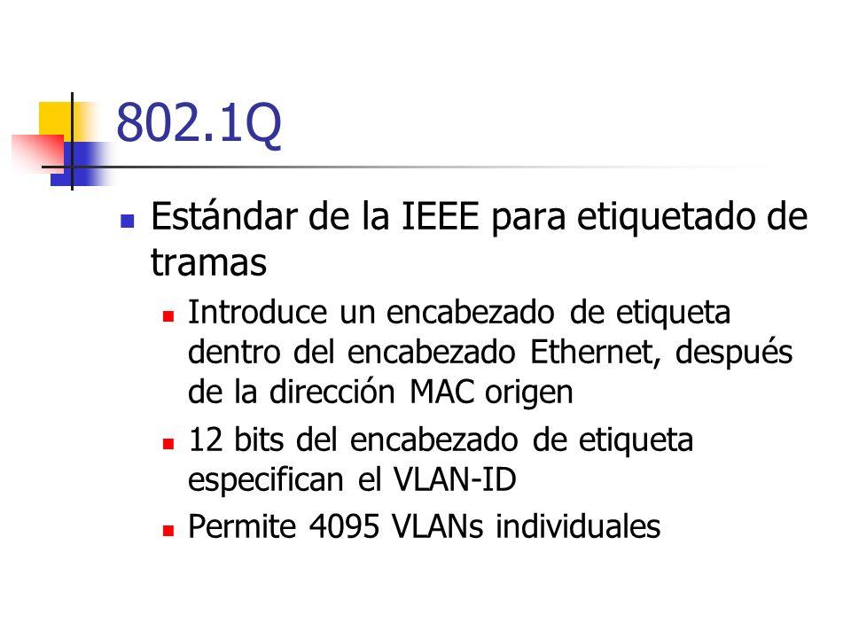 802.1Q Estándar de la IEEE para etiquetado de tramas Introduce un encabezado de etiqueta dentro del encabezado Ethernet, después de la dirección MAC origen 12 bits del encabezado de etiqueta especifican el VLAN-ID Permite 4095 VLANs individuales