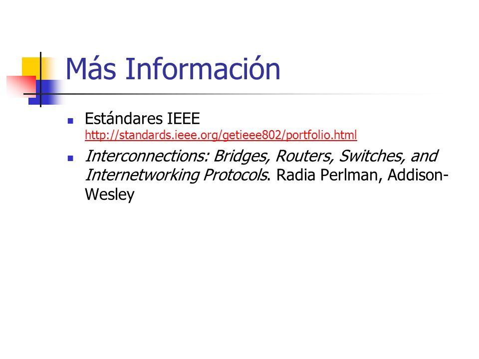Más Información Estándares IEEE http://standards.ieee.org/getieee802/portfolio.html http://standards.ieee.org/getieee802/portfolio.html Interconnections: Bridges, Routers, Switches, and Internetworking Protocols.