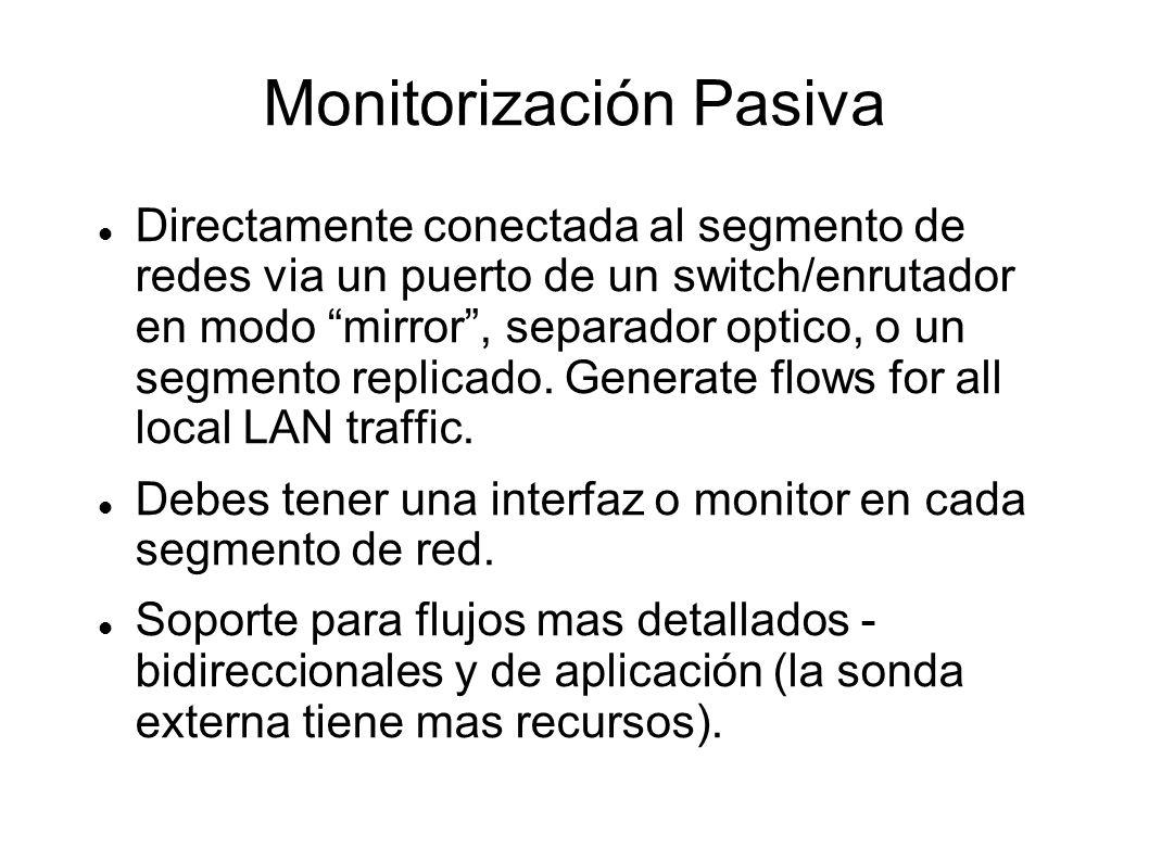 Monitorización Pasiva Directamente conectada al segmento de redes via un puerto de un switch/enrutador en modo mirror, separador optico, o un segmento