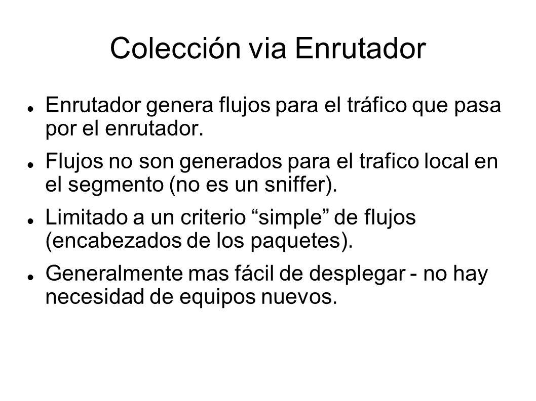 Colección via Enrutador Enrutador genera flujos para el tráfico que pasa por el enrutador. Flujos no son generados para el trafico local en el segment