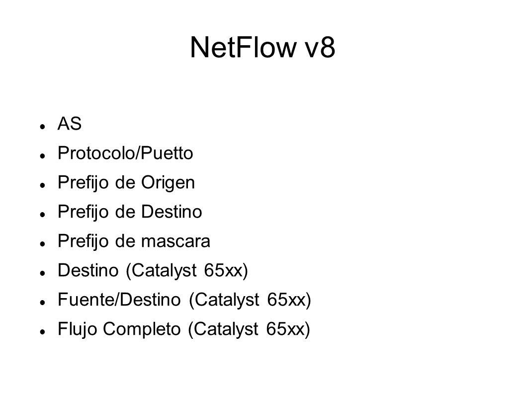 NetFlow v8 AS Protocolo/Puetto Prefijo de Origen Prefijo de Destino Prefijo de mascara Destino (Catalyst 65xx) Fuente/Destino (Catalyst 65xx) Flujo Co