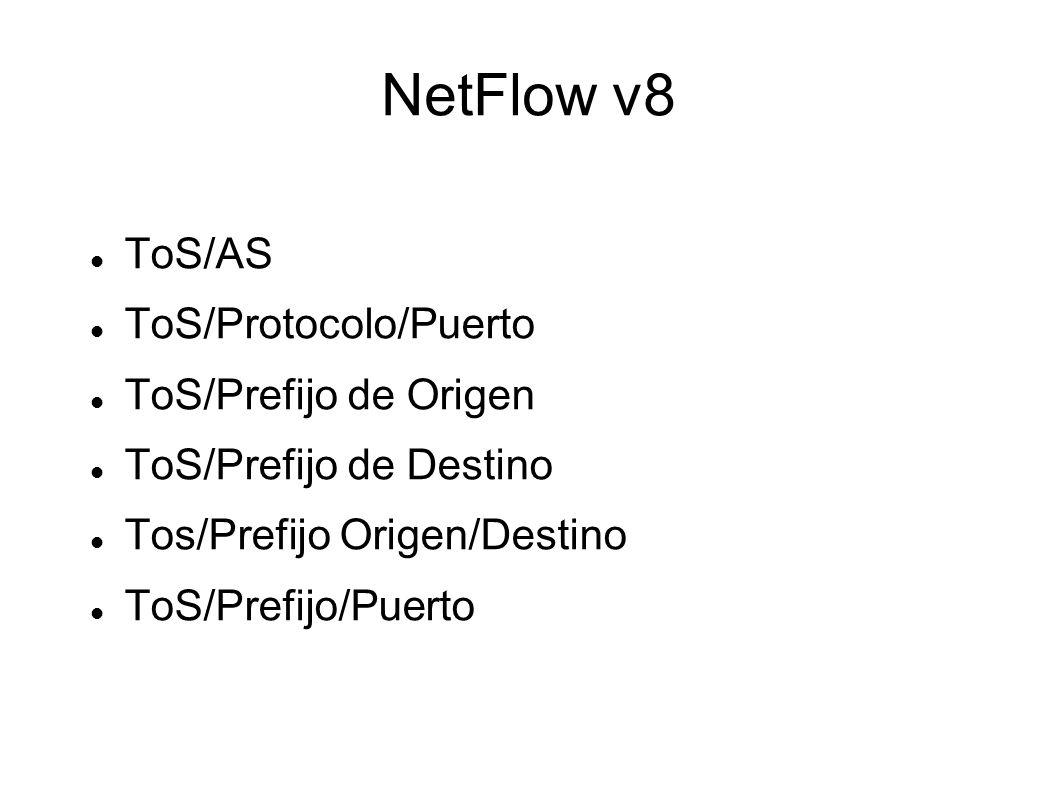 NetFlow v8 ToS/AS ToS/Protocolo/Puerto ToS/Prefijo de Origen ToS/Prefijo de Destino Tos/Prefijo Origen/Destino ToS/Prefijo/Puerto