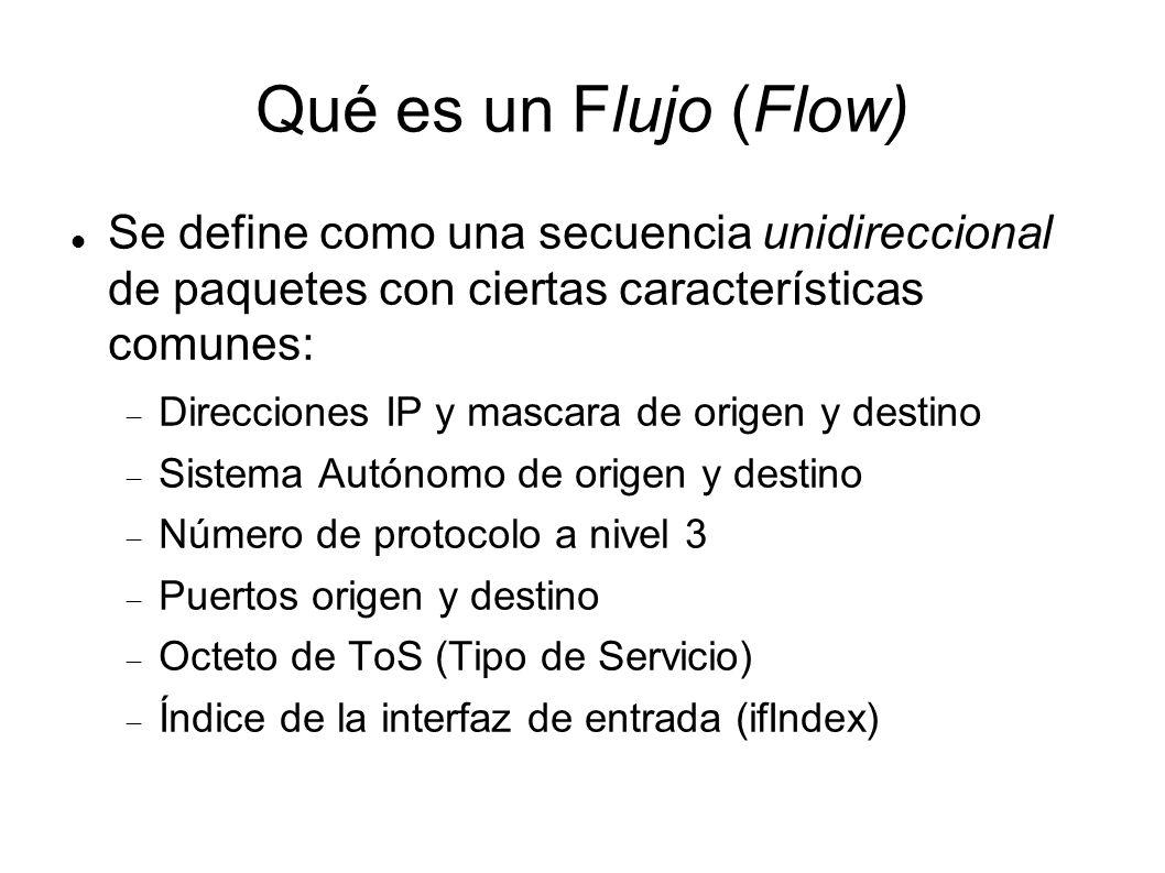 Qué es un Flujo (Flow) Se define como una secuencia unidireccional de paquetes con ciertas características comunes: Direcciones IP y mascara de origen