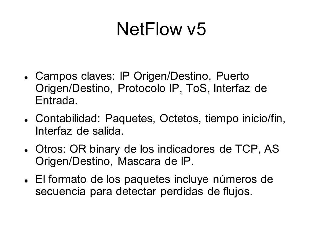 NetFlow v5 Campos claves: IP Origen/Destino, Puerto Origen/Destino, Protocolo IP, ToS, Interfaz de Entrada. Contabilidad: Paquetes, Octetos, tiempo in