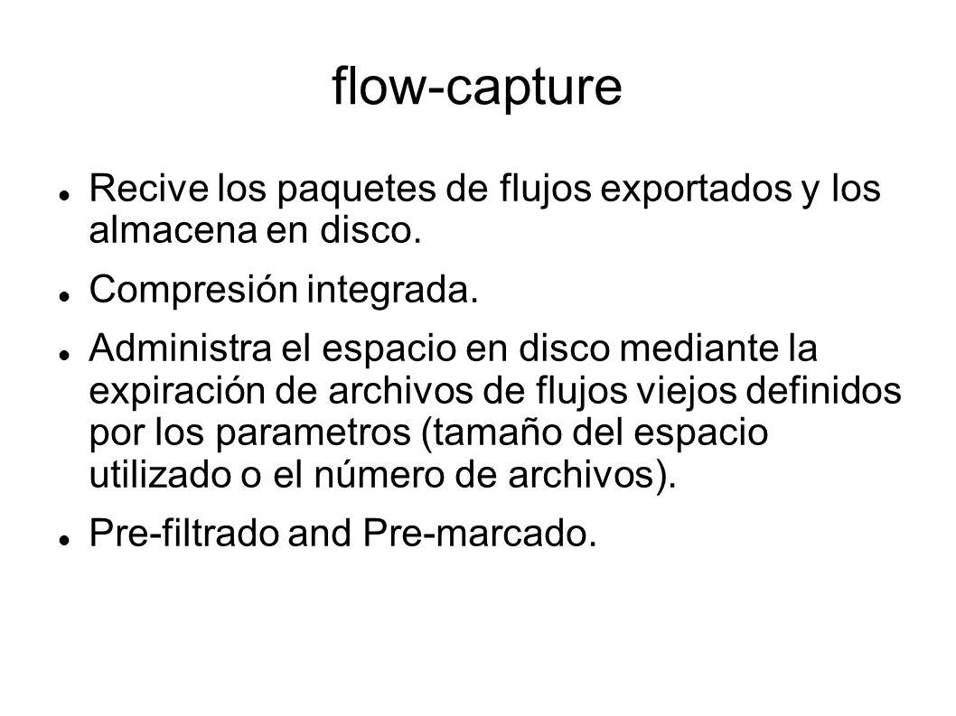 flow-capture Recive los paquetes de flujos exportados y los almacena en disco. Compresión integrada. Administra el espacio en disco mediante la expira