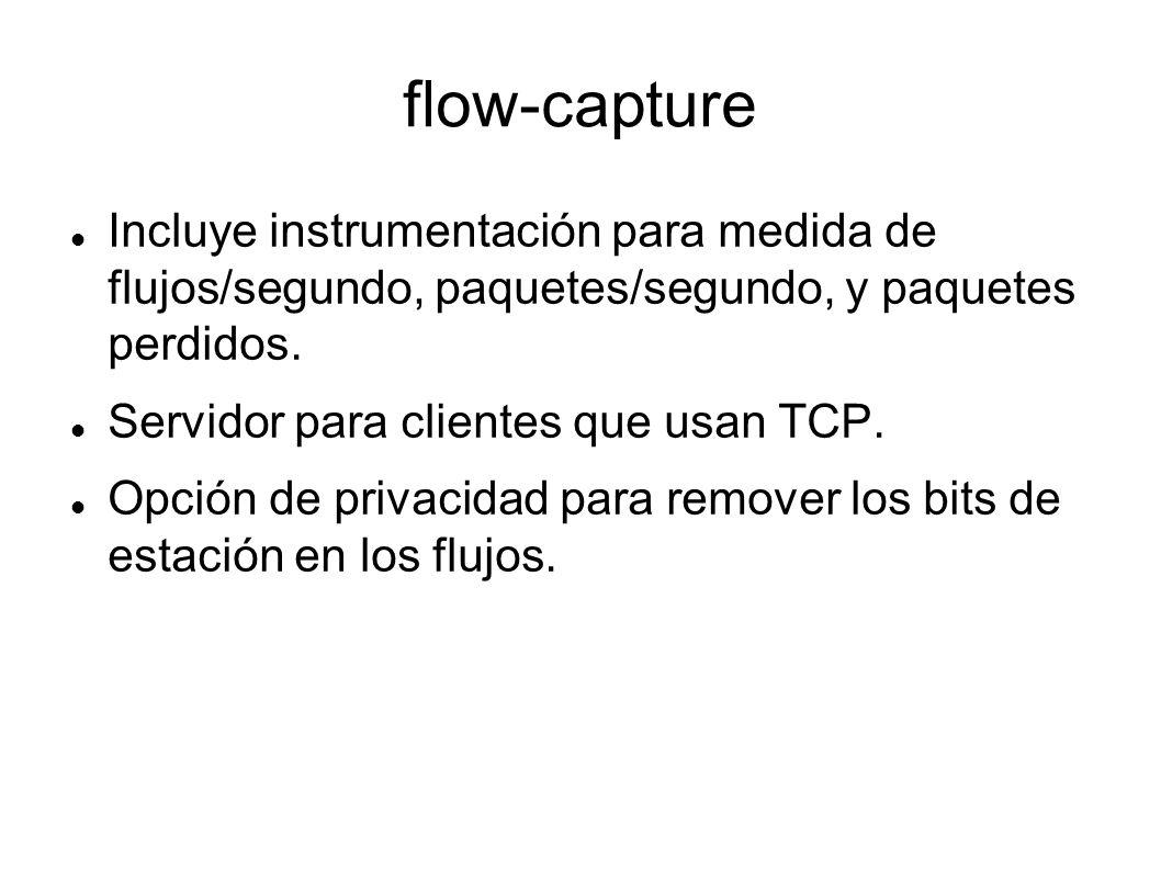 flow-capture Incluye instrumentación para medida de flujos/segundo, paquetes/segundo, y paquetes perdidos. Servidor para clientes que usan TCP. Opción