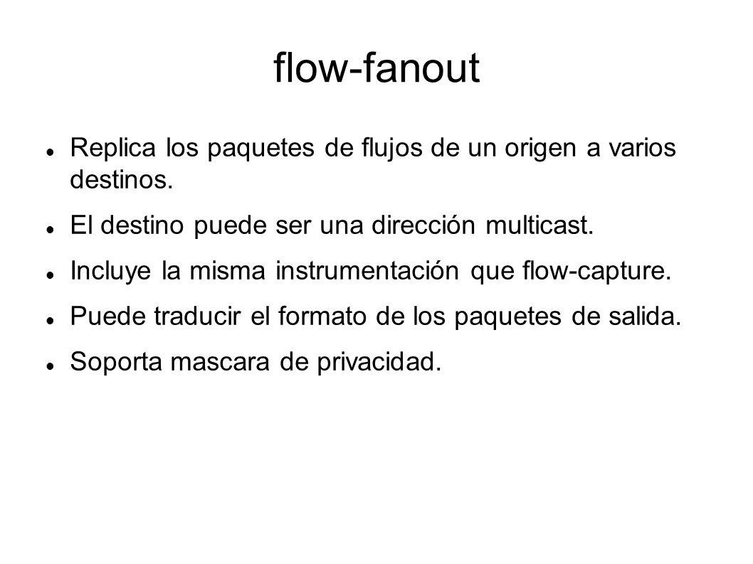 flow-fanout Replica los paquetes de flujos de un origen a varios destinos. El destino puede ser una dirección multicast. Incluye la misma instrumentac