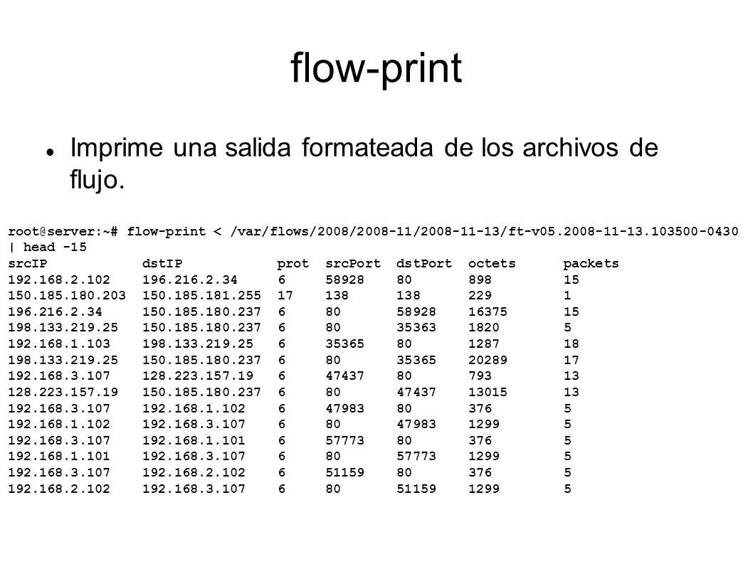 flow-print Imprime una salida formateada de los archivos de flujo. root@server:~# flow-print < /var/flows/2008/2008-11/2008-11-13/ft-v05.2008-11-13.10